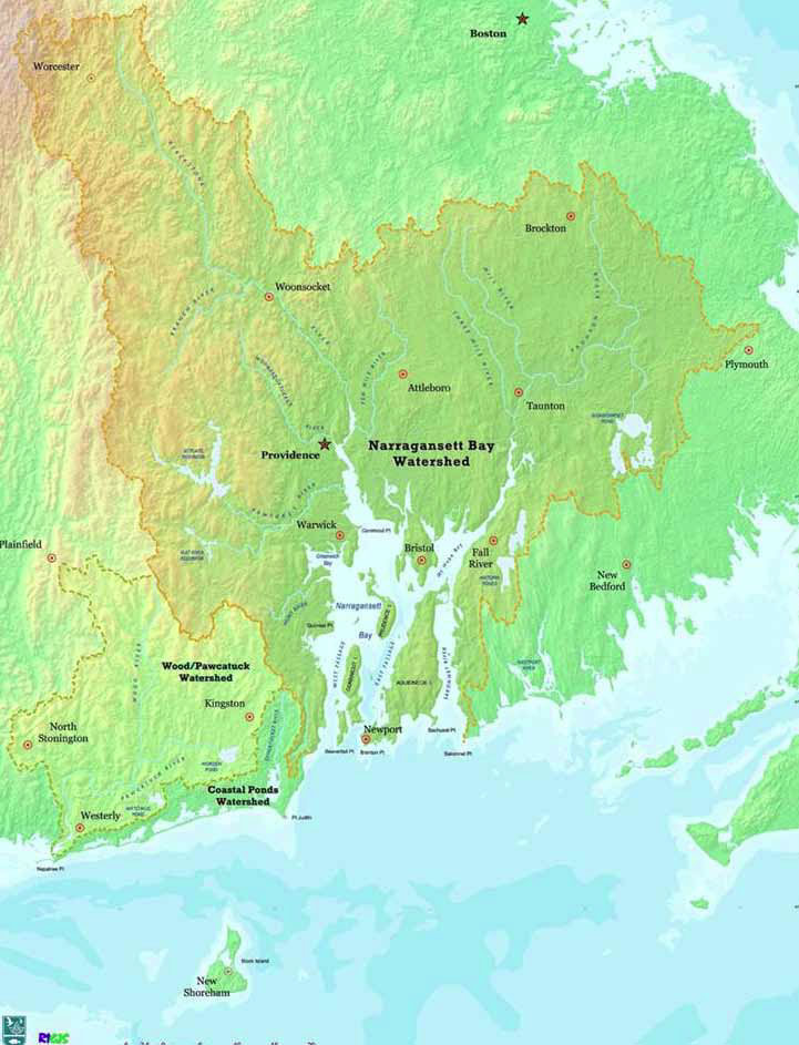 Map of the Narragansett Bay Watershed